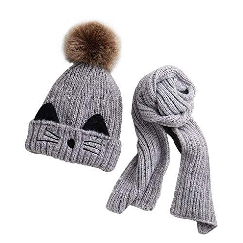 JFan Set Bufanda Gorro Niños Niñas Sombrero Invierno