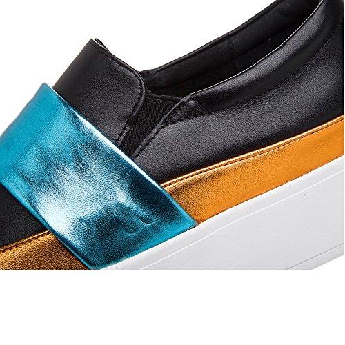 Shenn Donne 2016 Moda Piattaforma Scivolare Su Pelle Addestratore Scarpe 1601 Nero&Blu