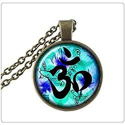 Cristal Om Símbolo Colgante, Yoga joyas, el budismo, Zen, meditación, Galaxy collares