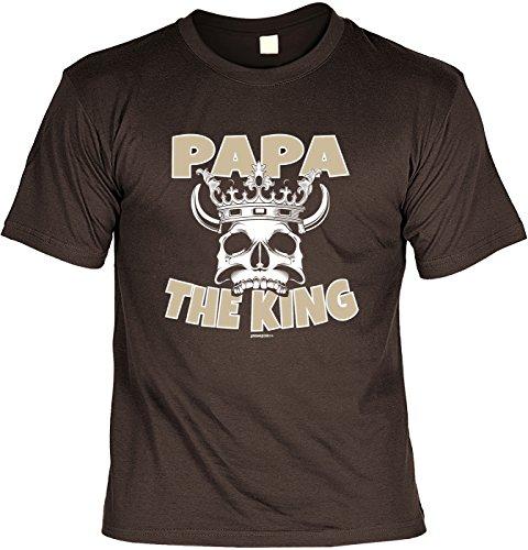 Fun T-Shirt zum Vatertag: Papa, the King - Geschenk, Geburtstag, Vatertagsausflug - braun Braun