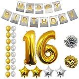 BELLE VOUS Alles Gute zum Geburtstag Folienballons Gold & Silber Party Dekoration Zubehör Set (Age 16)