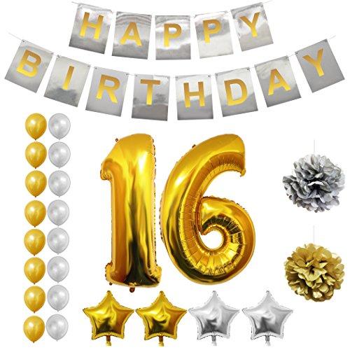 (BELLE VOUS Alles Gute zum Geburtstag Folienballons Gold & Silber Party Dekoration Zubehör Set (Age 16))