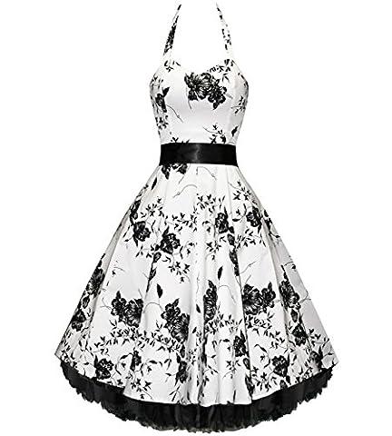 Pretty Kitty Fashion 50s Weiss Schwarz Blume Neckholder Cocktail Kleid GR 36 (S)