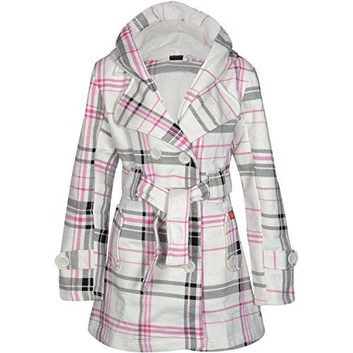 Noroze Damen stylischer Herbst Winter Fleece Mantel, Jacke mit Kapuze (38 (UK 10), Creme Tartan) (Creme-fleece-jacke)