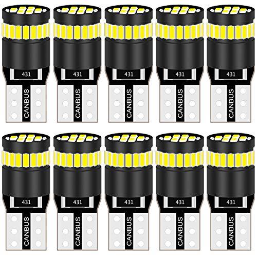 KaTur 194 Ampoule LED 6000K Blanc 168 2825 W5W T10 Compensé 24-SMD 3014 Chipsets LED Erreur CANBUS Gratuit pour Plaque de licence de voiture en forme de dôme de voiture (10pcs, Blanc)