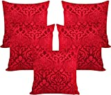 #9: Czar Home Velvet Red Cushion Covers 16x16 Set of 5 (40X40 Cm)