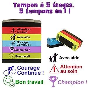 Français Marquage Tampon à 5 étages. 5 tampons en 1. Courage Continue, Avec aide, Champion, Bon Travail, Attention au soin.