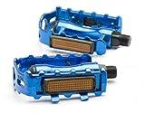 1 Paar Aluminium Fahrrad Pedalen MTB Trekking Pedale Reflektoren [blau]