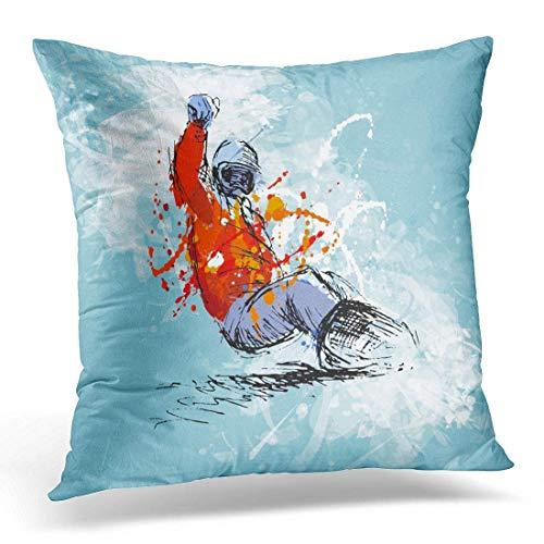 Jhonangel Dekokissenbezüge Case Blue Snowboard Farbige Handskizze Snowboarder auf Grunge White Ski Dekorative Kissenbezug Kissenbezug für Sofa Schlafzimmer Auto 18 x 18 Zoll