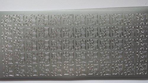 bastelkoerble® Sticker , 2 Bogen , Borten , Karo-/Pik-/Kreuz-/Herz , in Silber Kartengestaltung (Borte Kreuz)