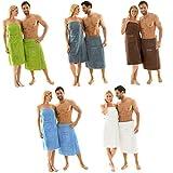 Saunakilt für Herren 70 x 160 cm Frottee Baumwolle kurzer Schnitt, grau, mit Stickerei