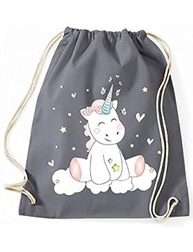 Jutebeutel Turnbeutel Sportbeutel Stofftasche Baumwolltasche Tasche Rucksack mit Kordel Cotton Gymsack Unicorn...
