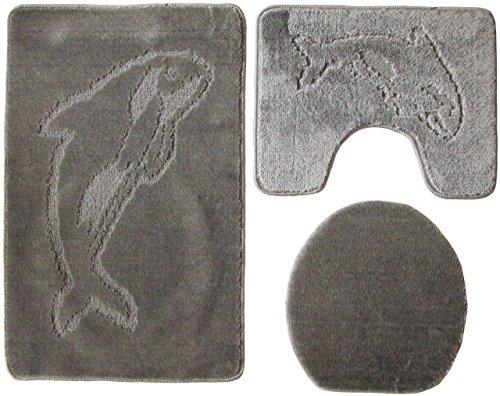 3- teilig Badgarnitur 100x60cm grau Badset Delphin Stand-WC Badematten Badteppich