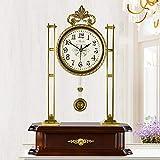 MAlex Kaminuhren,Wohnzimmer-Messing Mute Schaukelstuhl Antik Quarz Uhr Tisch Luxus Uhr 51,5 * 36 * 12 cm