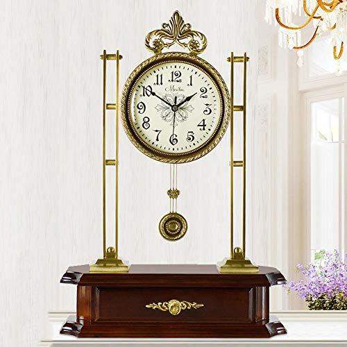 Hongge Kaminuhren,Wohnzimmer-Messing Mute Schaukelstuhl Antik Quarz Uhr Tisch Luxus Uhr 51,5 * 36 *...