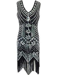 ZKOO Femmes Col V 1920 Art Deco Paillette Frange Robe de Cocktail