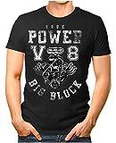 Legendary Items Herren T-Shirt True Power V8 Big Block Printshirt Motorblock Vintage Verwaschen schwarz L