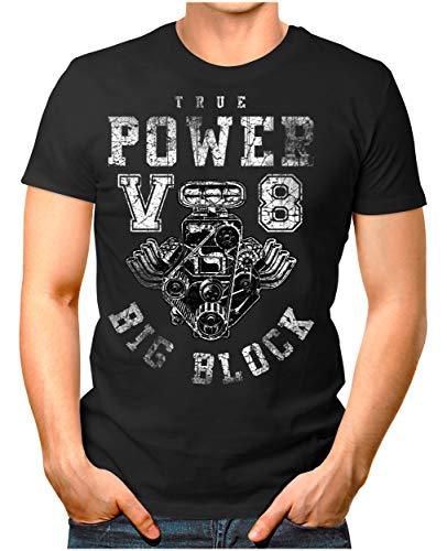 Legendary Items Herren T-Shirt True Power V8 Big Block Printshirt Motorblock Vintage Verwaschen schwarz M