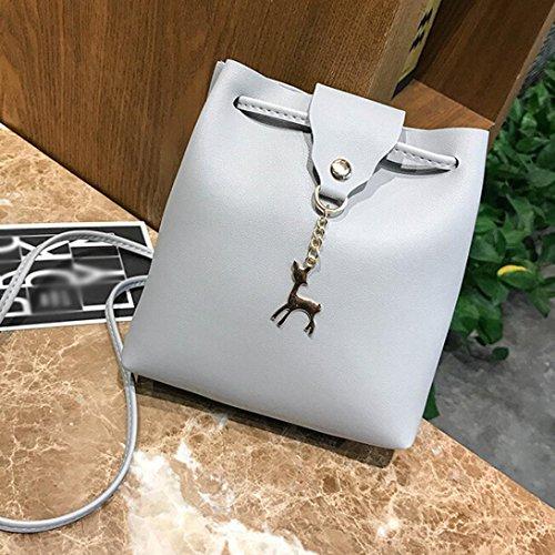 BZLine® Frauen Leder Crossbody Tasche kleine hirschschulter Taschen Geldbörse Handtasche Grau