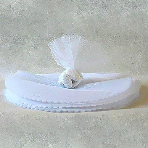 Hobi 24pz tulle bianco veli in organza celeste diametro 24cm con punti luccicanti bomboniere portaconfetti battesimo