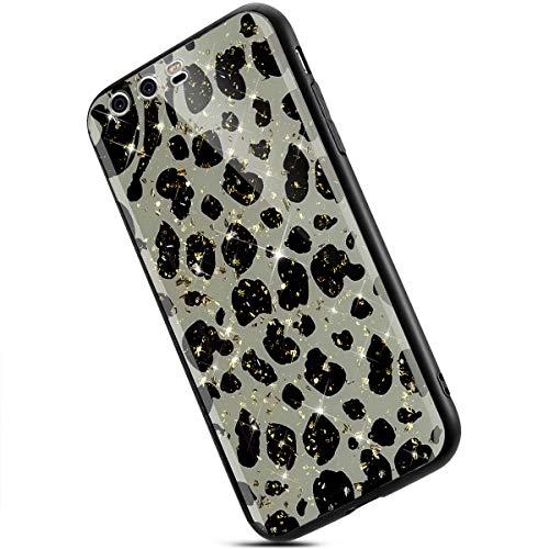Ukayfe Custodia Compatibile con Huawei P10 Plus Cover Trasparente Morbido TPU Silicone Bling Brillantini Glitter Ultra Sottile TPU e Hard PC Antiurto Bumper Case-Leopardo