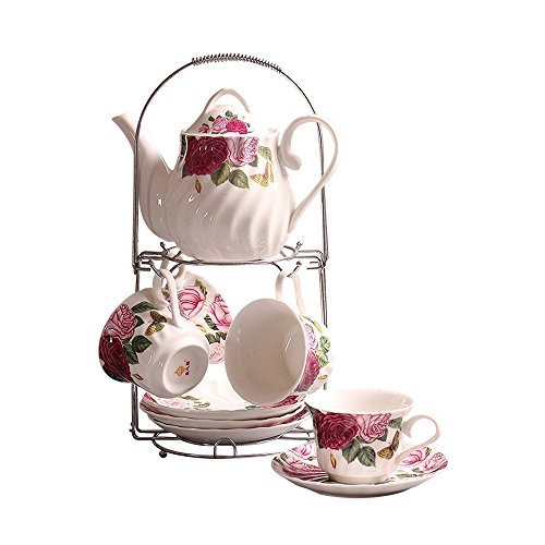 Ufingo 9 Piece White English Ceramic Tea Set,Rose Printing and Water Ripple Vintage Tea Set Service Coffee Set,For Household