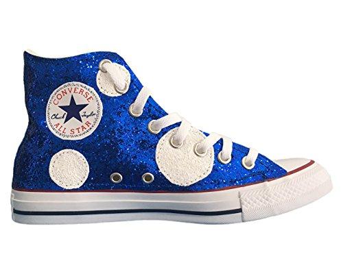 Converse All Star con applicazione pois glitter bianchi e blu elettrico Bianco