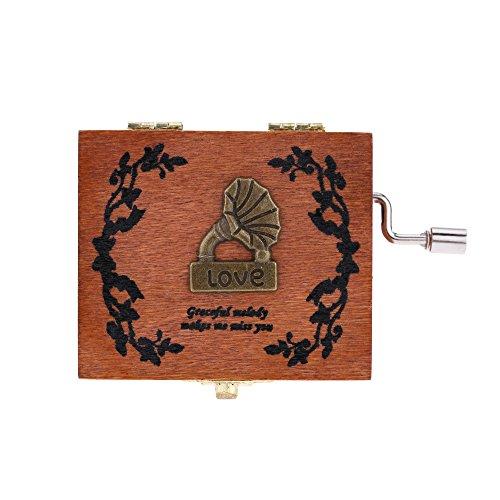 Andoer® Retro Holz Musik Box Handkurbel Spieluhr Vorzügliche Kunstfertigkeit 4 Muster für Wahl