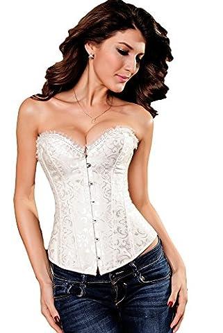 Saphira lingerie. Corset blanc avec motif floral. Se porte aisément sur un jean - Blanc - White - Taille 2XL - UK size 14/16
