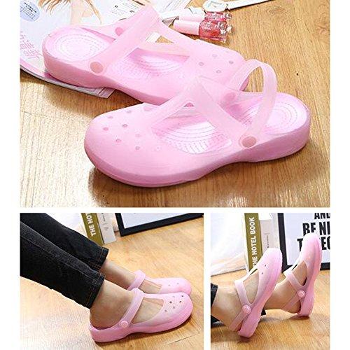 Eastlion Weibliche Sommer Sandalen Verfärbungs Sandalen Dicke Untere Hole Schuhe S2 Rosa