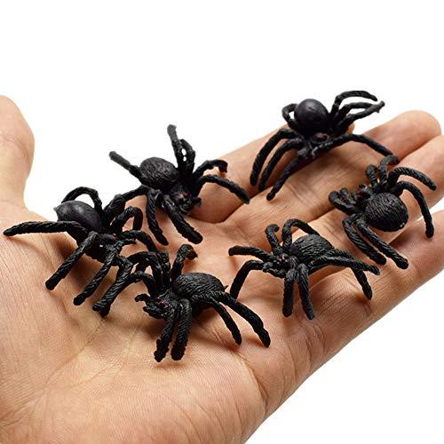 Milopon 10x Gefälschte Spinne Hinterwürfe Streich Neuheit Spinne Bugs Plastik Tier Spielzeug Halloween Party Trick ()
