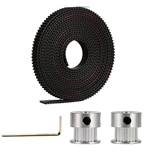 2x GT2 20T Aluminium Timing Riemenrad + 2m Timing Gurt für RepRap Prusa 3D Drucker