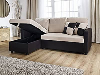 Rio L Shape Sofa With Pull Out Sofa Bed In Brown And Beige