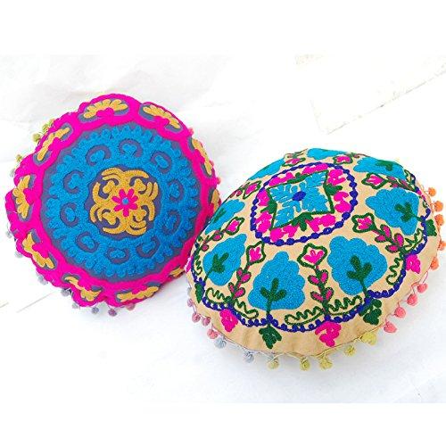 CRAFTOFPINKCITY 2 Stück osmanischen Pouf Cover Mandala Design indischen handgefertigt bestickt Suzani Kissenhülle Usbekistan JJG44 -