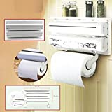 #9: CPEX Kitchen Wall Mounted Paper Towel Holder Cling Film Tinfoil Triple Roll Dispenser