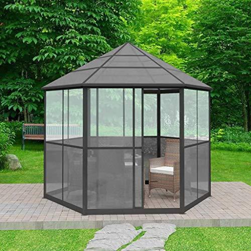 Ghuanton gazebo da giardino in alluminio esagonale grigio casa e giardino prato e giardino vita all'aperto strutture da esterno baldacchini e gazebi