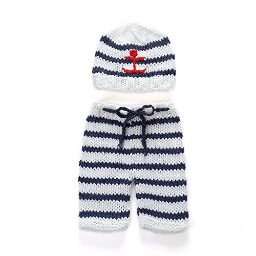 Baby Kostüm Gap - HUPLUE Neugeborene Baby Fotografie Requisiten gestrickt gehäkelt gestreift zweiteiliges Gap Hose Kostüm Outfit Set