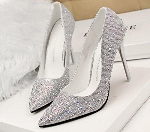 Minetom Damen Frühling Süß Höher Absatz Stilettos Glänzend Rhinestone High Heels Pointed Pumps Schuhe Silber