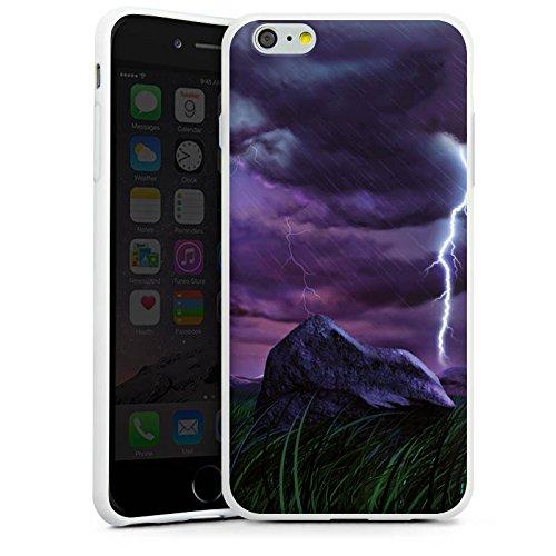 Apple iPhone X Silikon Hülle Case Schutzhülle Lila Blitz Gewitter Silikon Case weiß