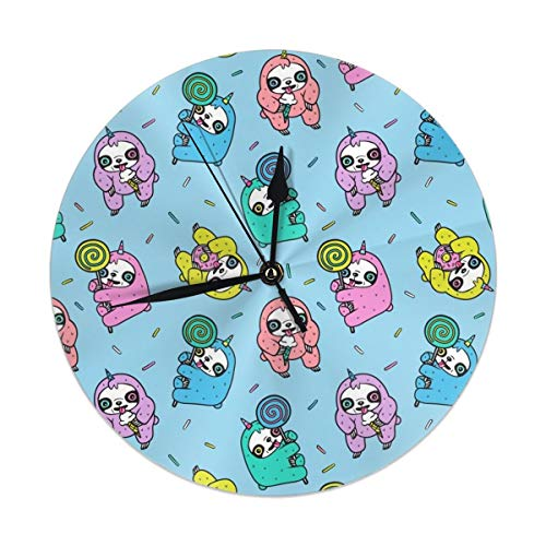 HomeMats 9.8 Inch Round Wall Clock,Slothicorns Blue Silent Non Ticking Decorative Clocks for Kitchen, Living Room, Bedroom, Office (Kit Cat Clock-pink)
