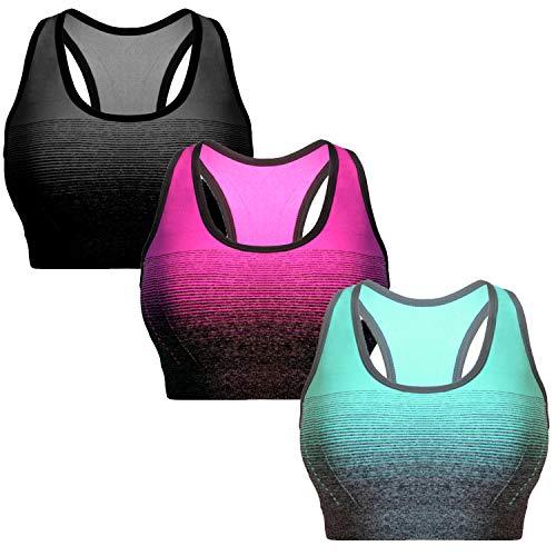 Libella 3er Pack Sport-BH Damen Bustier Gepolsterter Push Up Ohne Bügel Sport Bra Fitness Sporttop 3738 Schwarz+Blau+Pink Gr.S/M