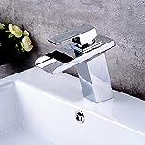 Laiton chromé, salle de bains, vasque de lavabo, mitigeur, robinet d'eau chaude et froide, pile LED, chrome, robinet de cascade