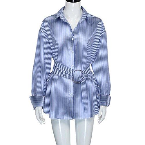 WOCACHI Damen Frühling und Herbst Langarmshirts Mode Frauen Reizvolles Langarm Blau Streifen Muster Belieben Boyfriend Art loose Bluse Tops mit einem Gürtel Blau