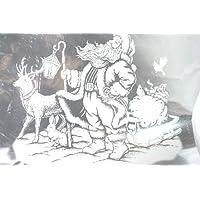 Vetrofania Babbo Natale con Slitta e Renna Bianco cm.35x27