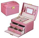 DCCN Schmuckkasten Elegant PU Leder Schmuckkoffer Schmuckschatulle Kosmetikkoffer mit 2 Schubladen Spiegel - Rosa