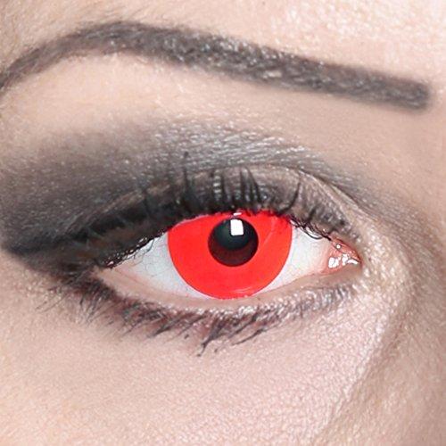 COOLEARTIKEL Halloween/Fasching farbige-Kontaktlinsen rot, 1 Paar 3-Monats Motivlinsen im Design red devil ohne Stärke