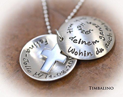 Silberkette mit Text Medaillon 925 Silber Kreuz