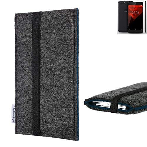 flat.design Handyhülle Lagoa für NOA H10le   Farbe: anthrazit/blau   Smartphone-Tasche aus Filz   Handy Schutzhülle  Handytasche Made in Germany