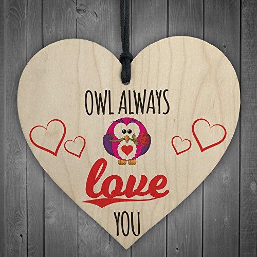 Rot Ocean Owl Always Love You Neuheit Herz aus Holz zum Aufhängen Plakette Freundschaft Geschenk Schild