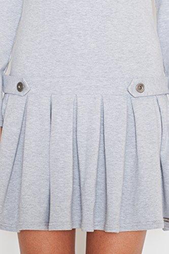 Katrus Robe tendance base volantée à plis plats serrés Gris